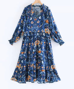Boho Love Midi Dress - Blue Floral