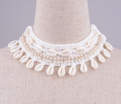 Shell Crochet Necklace - Off White