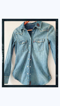 Load image into Gallery viewer, SPARKLE ANGEL - Rose Mae Reworked Denim Shacket (THIS PIECE IS RESERVED)