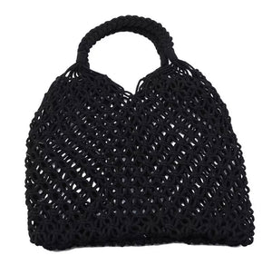 Mesh Cotton Macrame Woven Bag - Black