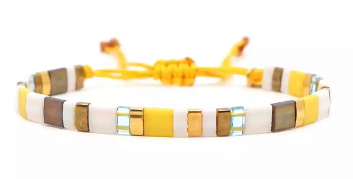 Block Bracelet - Yellow/White/Bronze