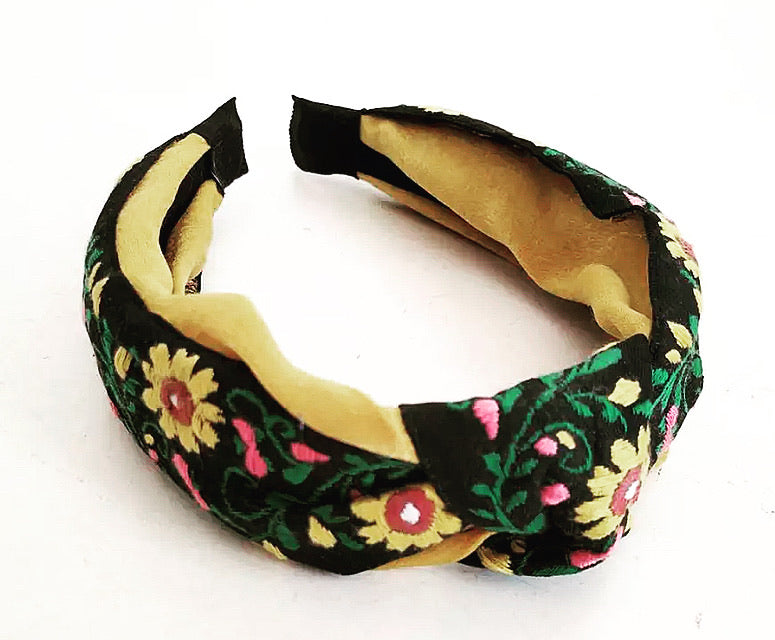 Embroidered Headband - Floral Yellow