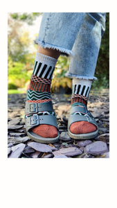 Argyle Socks - Green/White/Rust