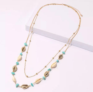 Double Layered Necklace - Gold/Shell