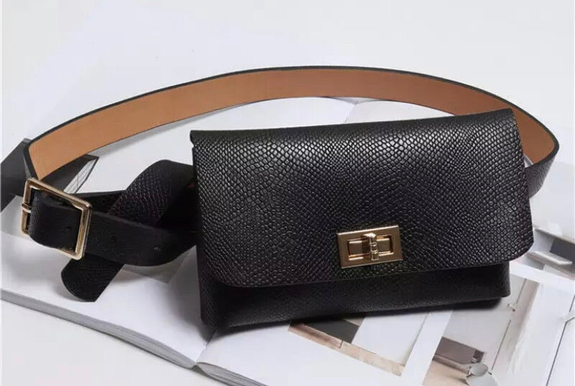 Belt Bag - Black Mock Snake Skin