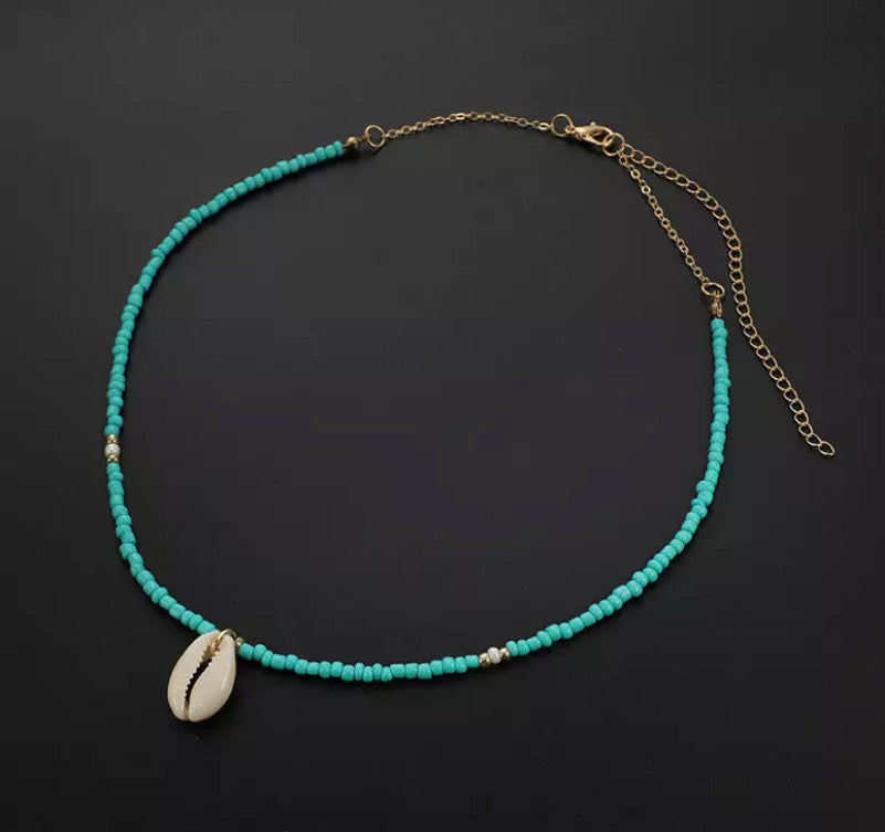 Cowrie Shell Necklace - Turquoise
