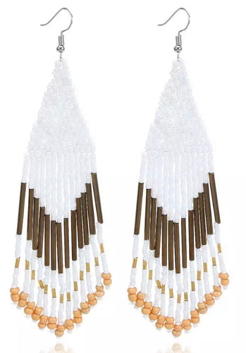 Beaded Boho Tassel Earrings - White