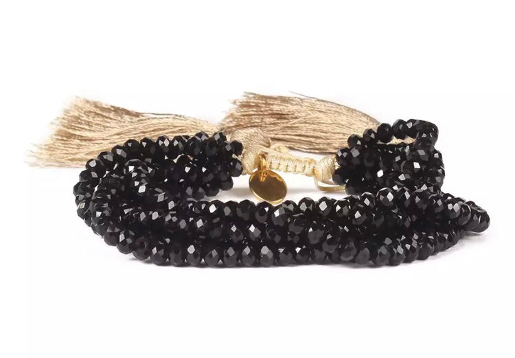 Beaded Jet Bracelet - Black/Gold