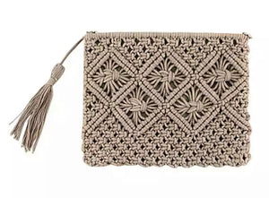 Cotton Macrame Clutch - Beige/Natural
