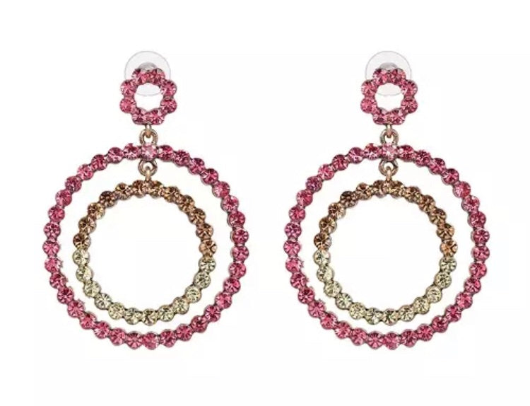 Sparkle Round Earrings - Pink