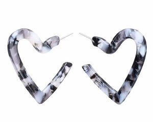 Perspex Heart Earrings - Grey (Was £6.95 Now £4.50)