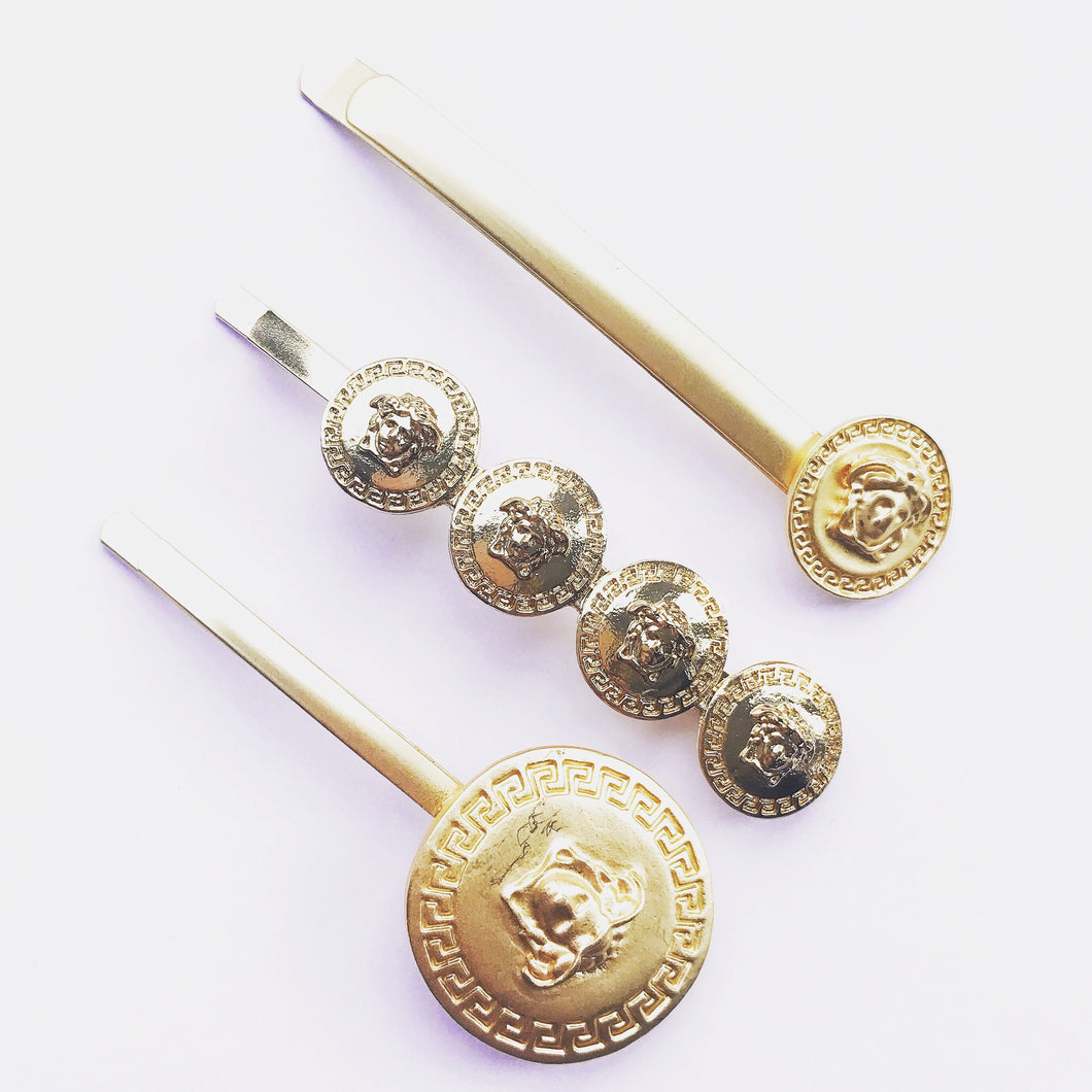 Medusa Coin Hair Clips - Set of three