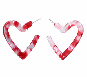 Perspex Heart Earrings - Red (Was £6.95 Now £4.50)