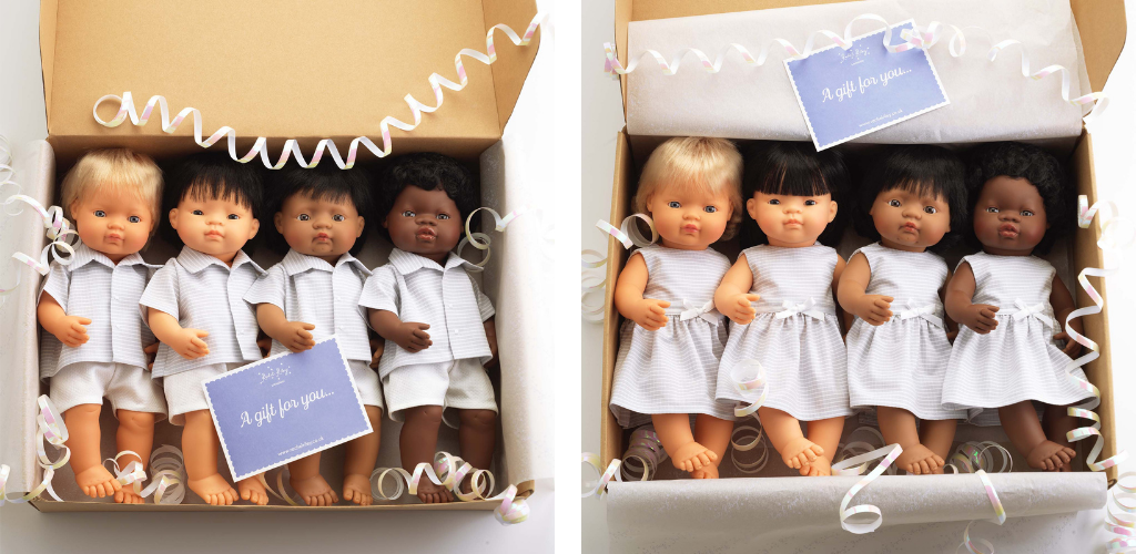 Dolls in two gift boxes