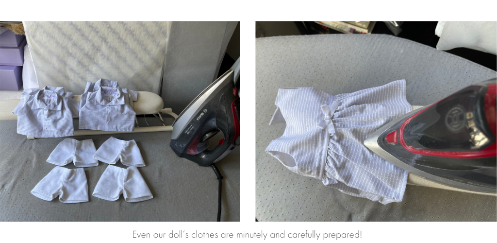 Doll's clothes being ironed