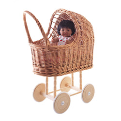 Dolly Wicker Pram with bedding large