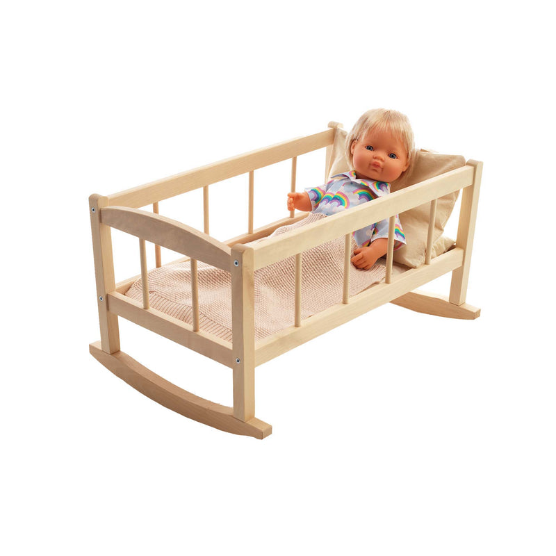 Dolly wooden cradle with blanket