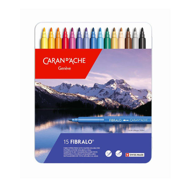 FIBRALO water soluble pens – 15 colour assortment in metal tin