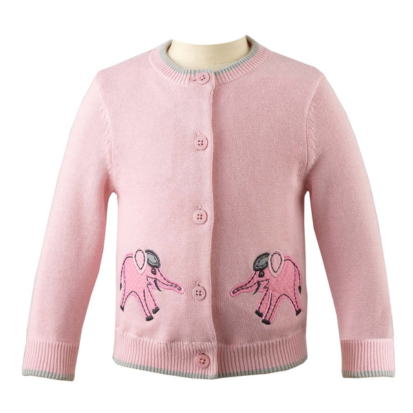 Pink Elephant Applique Cardigan