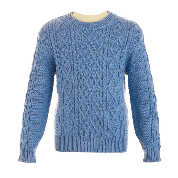 cable knit, sweater, boy sweater, blue, Rachel Riley knitwear, spring, casual, formal