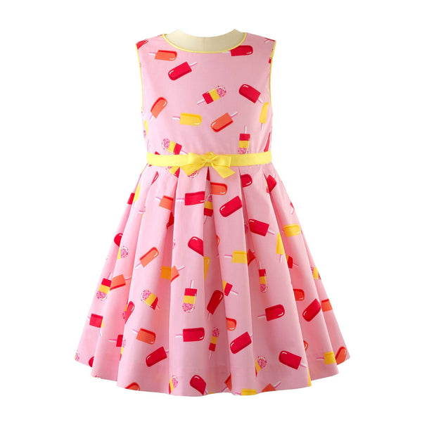 Ice Lolly Pleated Sleeveless Dress