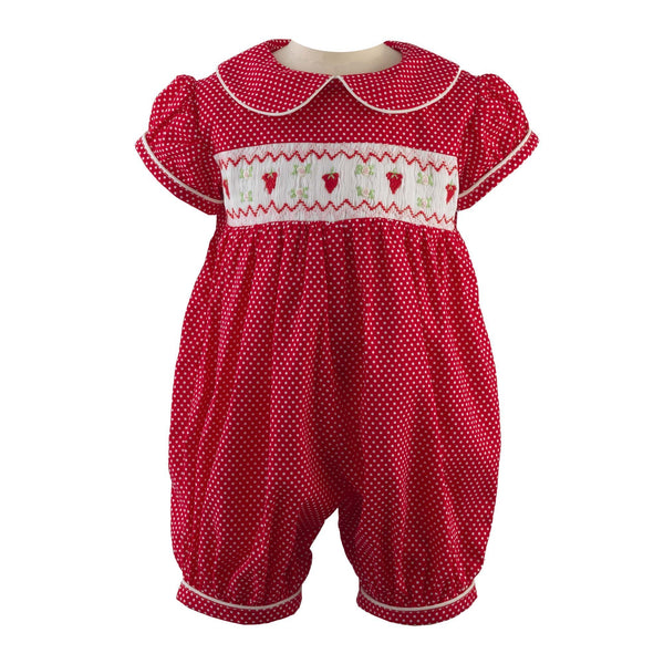 Strawberry Smocked Babysuit