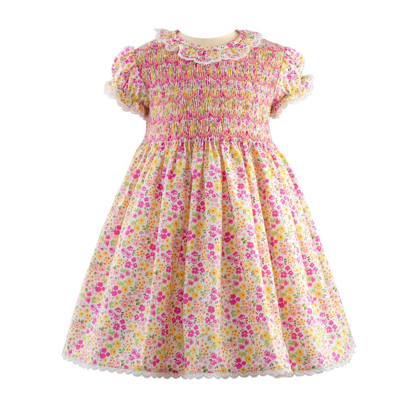 Lace Trim Floral Smocked Dress & Bloomer
