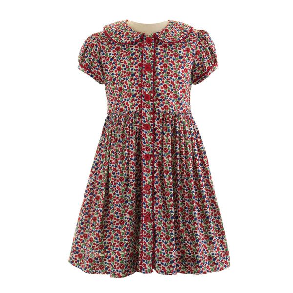 Red Floral Button-front Dress