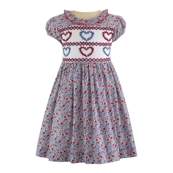 Floral Heart Smocked Dress