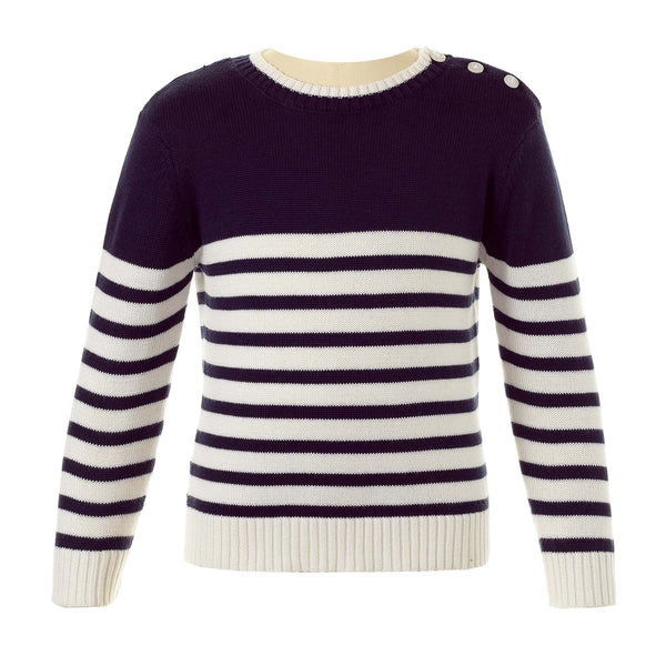breton striped sweater, boy sweater, Rachel Riley sweater, knitwear, boy, navy ivory, casual, spring