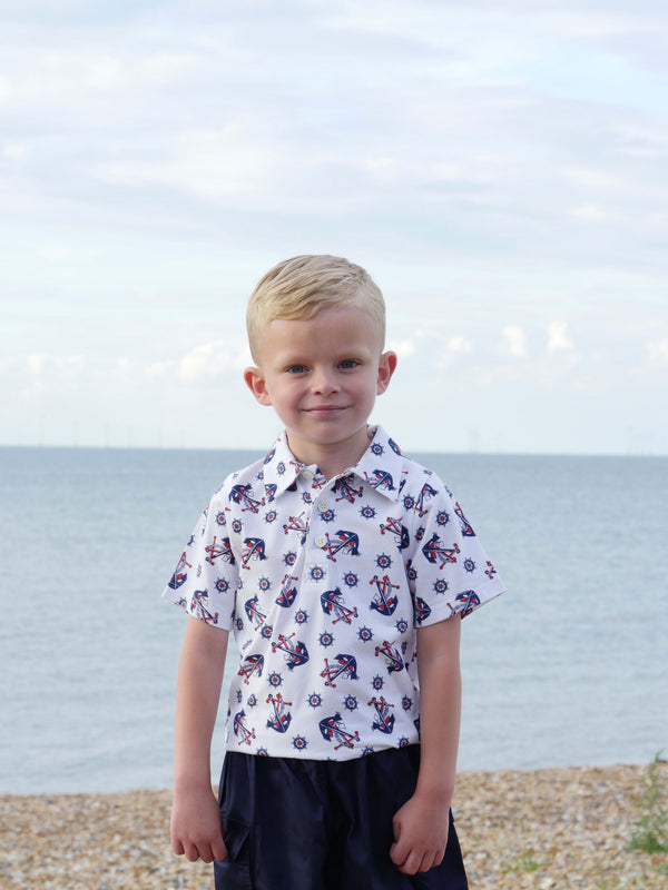 anchor polo, boys polo, Rachel Riley polo, anchor print, jersey, casual wear