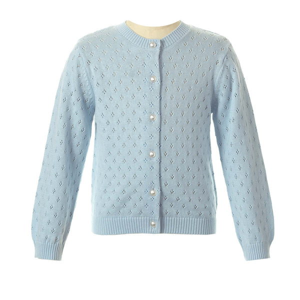 Pointelle Cardigan - Blue