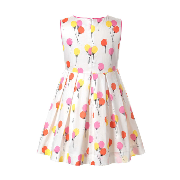 balloon sleeveless pleated dress, Rachel Riley dress, girls dress, party, balloons, sleeveless,