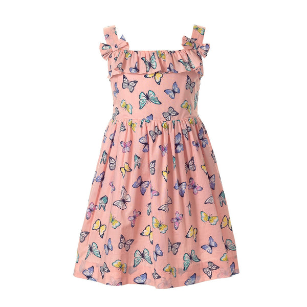 butterfly sundress, girl dress, summer dress, Rachel Riley dress, pink, butterly print, girl