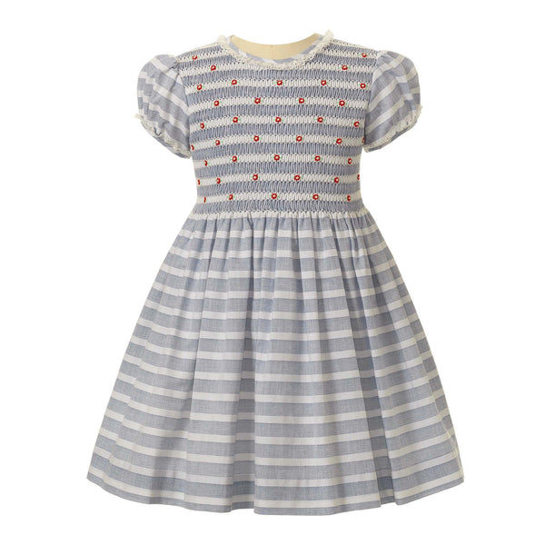 Rosebud Striped Smocked Dress