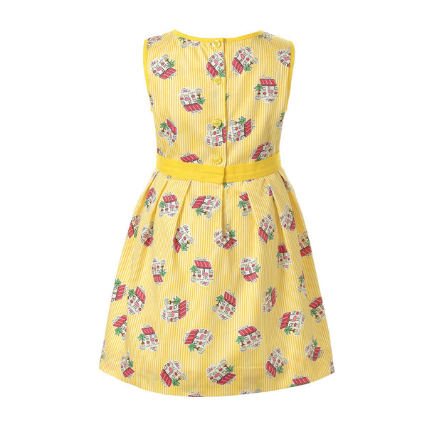 cafe pleated dress, cafe print, girl dress, Rachel Riley dress, summer dress, yellow, party, evening dress, tea party dress