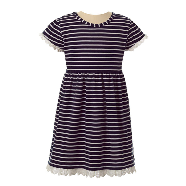 breton, striped, jersey dress, jersey, girl dress, Rachel Riley dress, summer, navy, casual