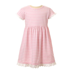 breton, striped, jersey dress, jersey, girl dress, Rachel Riley dress, summer, pink, casual