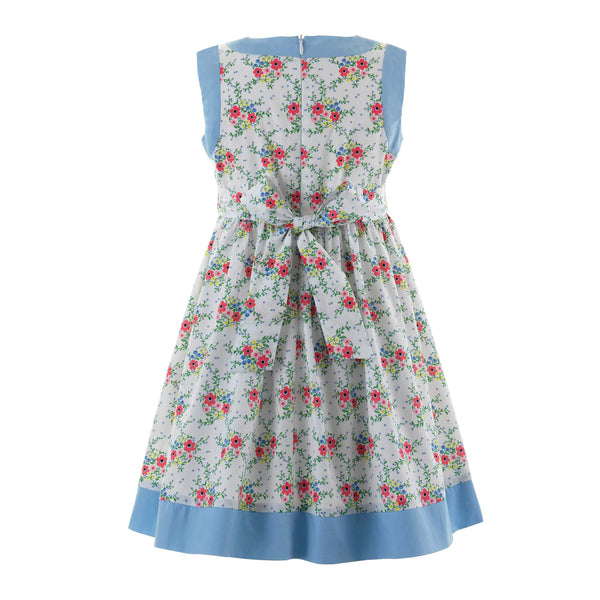 bow trim, floral dress, girl dress, Rachel Riley dress, formal, casual, blue, flowers, girl, summer