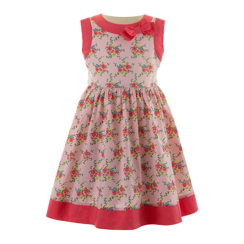 bow trim, floral dress, girl dress, Rachel Riley dress, formal, casual, pink, flowers, girl, summer