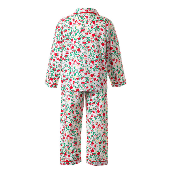 apple long pyjamas, girls pyjamas, Rachel Riley nightwear, girls nightwear, apple print