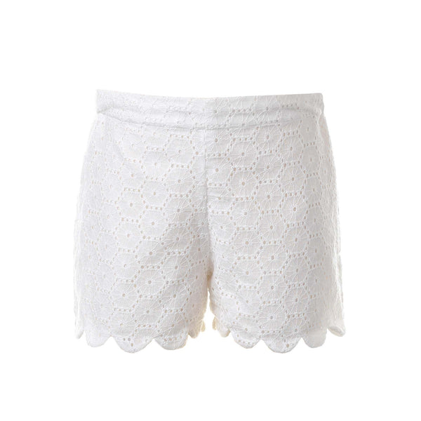 broderie scalloped shorts, girls shorts, Rachel Riley shorts, ivory, summer, casual wear, spring