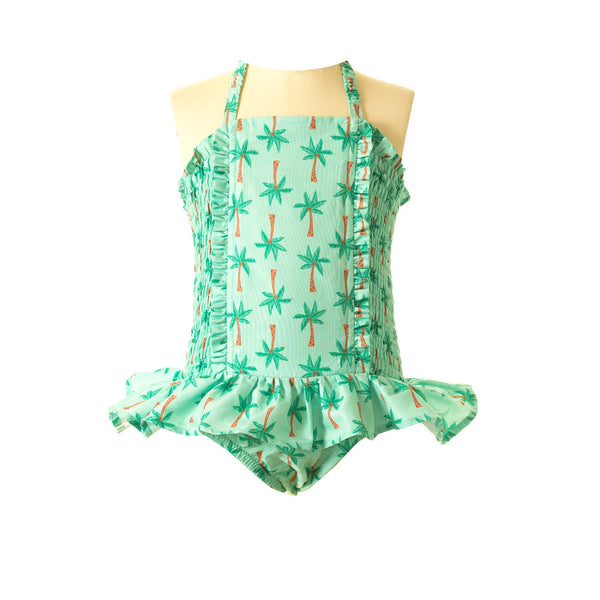 Palm Tree Ruched Swimsuit