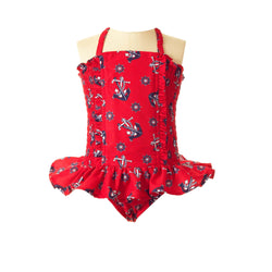 anchor ruched swimsuit, anchor print, girl swimsuit, Rachel Riley swimwear