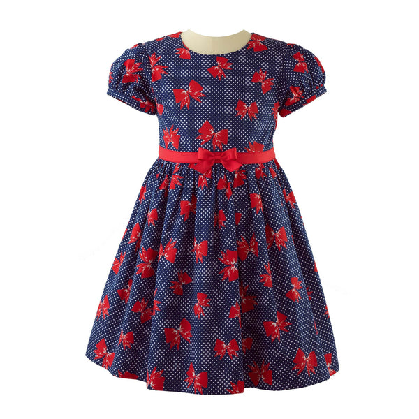 bow party dress, girl dress, Rachel Riley dress, bows, navy, red, party, formal