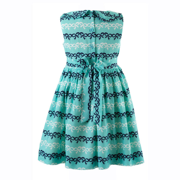 bow frill dress, girl dress, Rachel Riley dress, casual, bows, summer, spring, green, navy