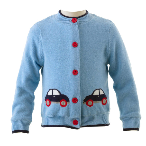 Toy Car Intarsia Cardigan