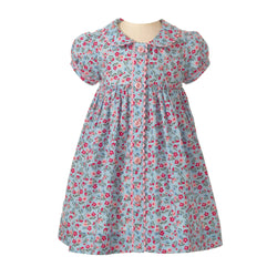 Blue Floral Button Front Dress & Bloomers