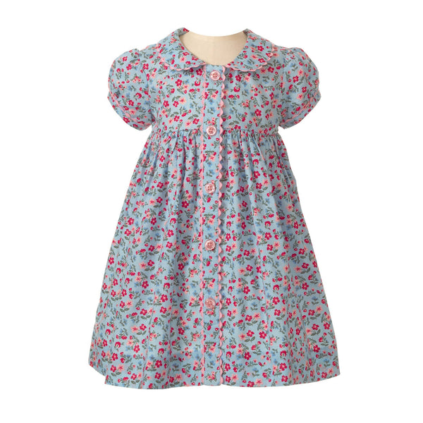 blue floral button front dress, casual dress, baby girl dress, Rachel Riley dress, floral, summer