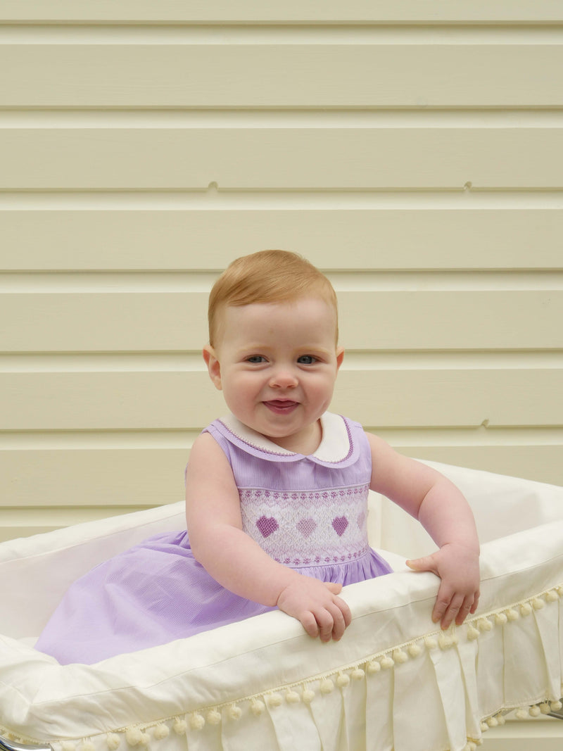 heart striped smocked dress, baby girl dress, Rachel Riley dress, occasion wear, smocked dress